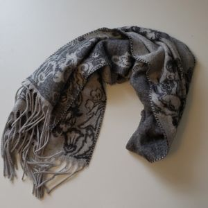 Gray and Black Floral Scarf